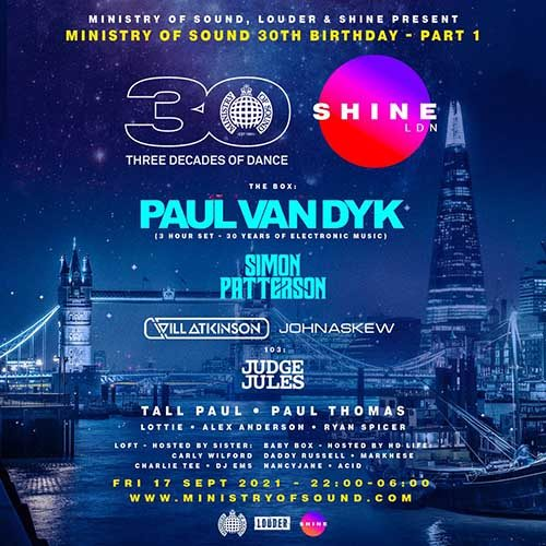Paul van Dyk @ Ministry of Sound 30th Birthday with SHINE 17-09-2021
